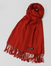 Fashion Dark Red Tassel Decorated Pure Color Scarf