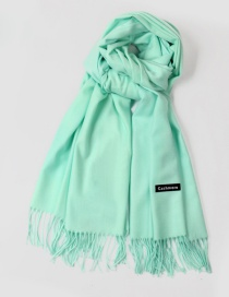 Fashion Light Green Tassel Decorated Pure Color Scarf