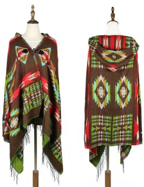 Fashion Green Geometric Shape Pattern Design Thicken Scarf