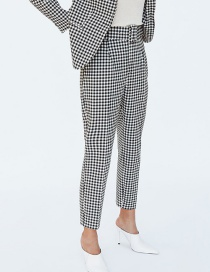 Fashion Black+white Grid Pattern Decorated Long Pants