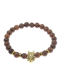 Fashion Gold Color+brown Lion's Head Decorated Beads Bracelet