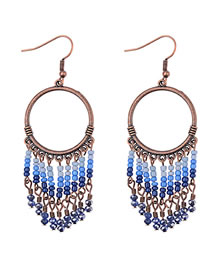 Vinatge Blue Beads Decorated Long Tassel Earrings