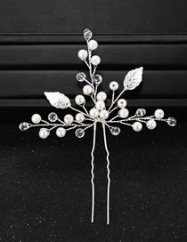 Fashion Silver Color Pearls&leaf Decorated Bride Hair Accessory