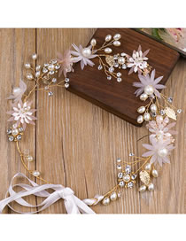 Fashion Ponk Flowers&pearls Decorated Bride Hair Band