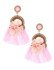 Elegant Pink Flower Decorated Tassel Earrings