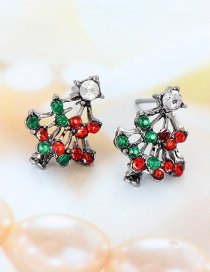 Elegant Multi-color Christmas Tree Shape Design Hollow Out Earrings