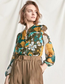 Fashion Multi-color Flowers Pattern Decorated Long Sleeves Shirt