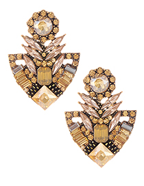 Elegant Champagne Geometric Shape Diamond Design Earrings