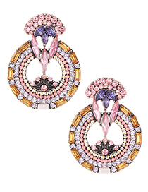 Elegant Pink Full Diamond Design Hollow Out Earrings