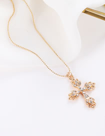 Elegant Gold Color Cross Pendant Decorated Simple Necklace