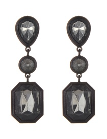 Elegant Black Geometric Shape Diamond Decorated Earrings