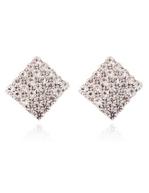 Fashion Silver Color Full Diamond Design Square Shape Earrings
