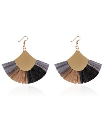 Fashion Multi-color Color Matching Design Sector Shape Earrings
