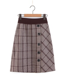 Elegant Coffee Buttons Decorated Grid Pattern Design Skirt