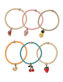 Fashion Multi-color Fruits Pendant Decorated Hair Band(6pcs)