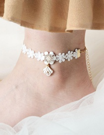 Fashion White Flower Shape Design Pure Color Anklet