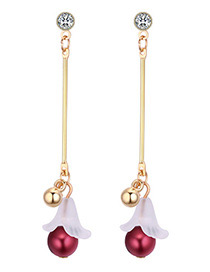 Elegant Red Flower Shape Decorated Earrings Reviews