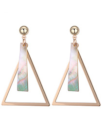 Elegant Gold Color Triangle Shape Decorated Long Earrings