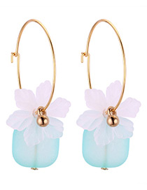 Fashion White+blue Flower Shape Decorated Earrings
