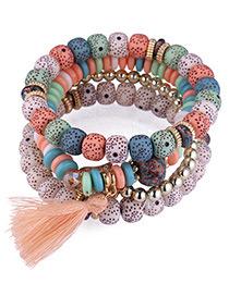 Fashion Multi-color Tassel&beads Decorated Multi-layer Bracelet