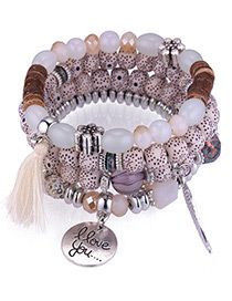 Vintage Beige Tassel&wing Decorated Multi-layer Bracelet