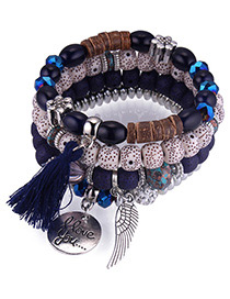 Vintage Navy Tassel&wing Decorated Multi-layer Bracelet