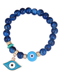 Personality Blue Eye Shape Pendant Decorated Beads Bracelet