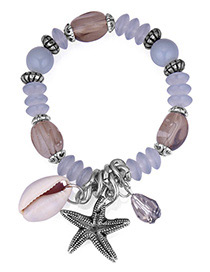 Vintage Gray+white Starfish Pendant Decorated Beads Bracelet