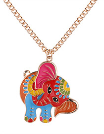 Fashion Champagne Elephant Shape Decorated Necklace