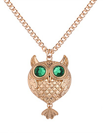Fashion Champagne+green Owl Shape Decorated Necklace