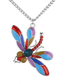 Fashion Silver Color+blue Butterfly Shape Decorated Necklace
