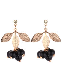 Elegant Black Leaf&beads Decorated Long Earrings
