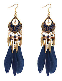Fashion Navy Leaf Decorated Earrings