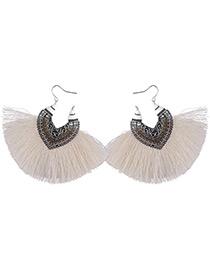 Vintage White Tassel Decorated Earrings