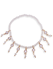 Elegant Gold Color Full Pearls Decorated Simple Anklet