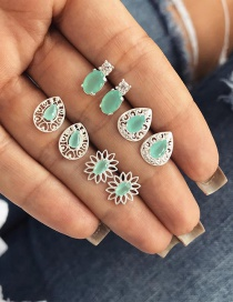 Fashion Green Waterdrop Shape Decorated Earrings Sets
