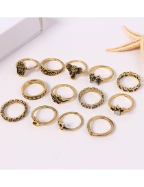 Fashion Gold Color Flower Shape Decorated Ring Sets