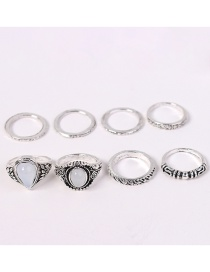 Fashion Silver Color Waterdrop Shape Decorated Rings Sets