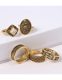 Fashion Gold Color Geometric Shape Decorated Rings Sets