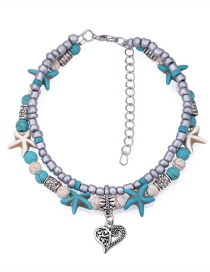 Fashion Blue Starfish Shape Decorated Ankle Chain