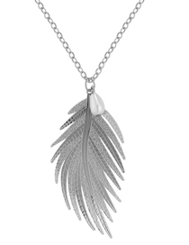 Fashion Silver Color Feather Shape Design Necklace
