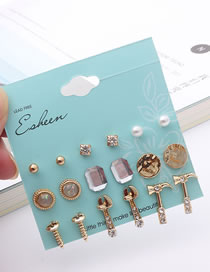 Simple Gold Color Diamond Decorated Earrings Sets (18 Pcs)
