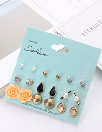 Fashion Gold Color Flower Shape Decorated Earrings Sets (18 Pcs )
