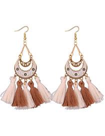 Vintage White Moon Shape Decorated Tassel Earrings