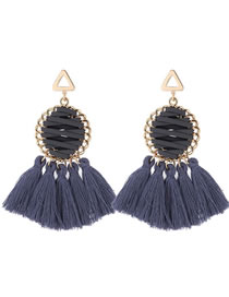 Elegant Gray Round Shape Design Tassel Earrings