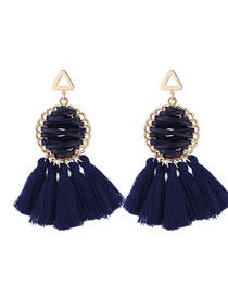 Elegant Blue Round Shape Design Tassel Earrings