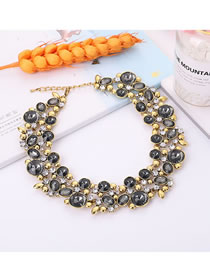 Elegant Gray Full Diamond Design Pure Color Necklace