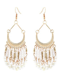 Fashion White Bead Decorated Pure Color Earrings