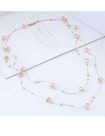 Fashion Khaki Pure Color Decorated Double Layer Necklace