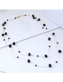 Fashion Black Pure Color Decorated Double Layer Necklace